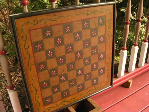 Primitive Checker  Board Game Board Gameboard Folk Art