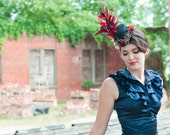 Black Mini Top Hat with Red Roses and Red Feathers - LA FEMME ROUGE