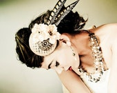 Bridal Fascinator Hat - Bronze, Cream-Beige Flowers and Feathers - ARC DE TRIOMPHE