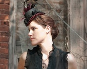 Mini Top Hat Black with Roses, Purple Velvet and Feathers - THE TRAVELLER