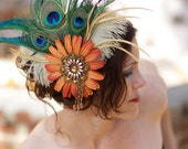 Feather Headdress with Orange, Cream and Peacock Accents - LIMITED - TRIBAL