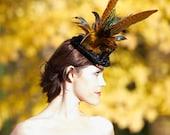 Black Sinamay Mini Top Hat with Rust Orange Feathers and Satin - BLACK WIDOW