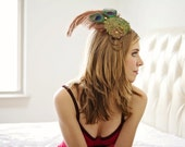 Gold Peacock Fascinator with Copper Ostrich Feather and Green Beaded Applique - Limited - STEAMY