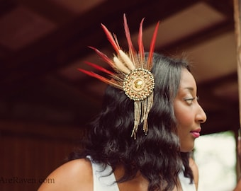 Boho Chic Tribal Feather Fascinator - QUEENIE