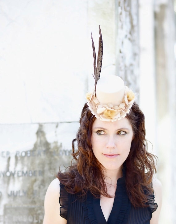 Steampunk Hat with Cream Roses and Satin - LADY AMHERST