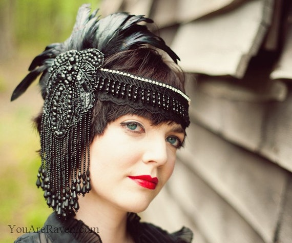 Black Feather Headdress Flapper Style Beaded Swarovski Crystals - Dark Queen (Made to Order)