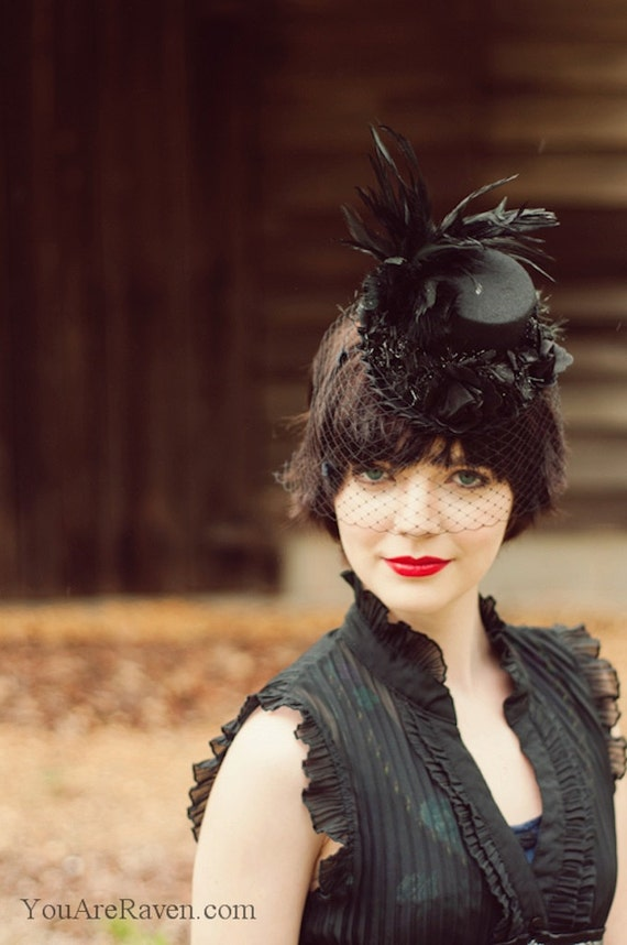 Black Mini Top Hat with Veil, Feathers and Roses - RAVEN