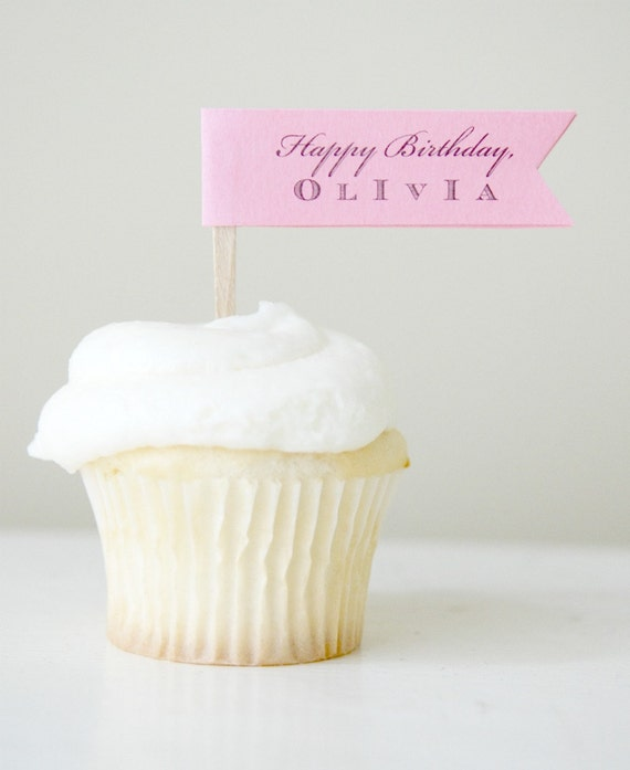 Custom Message Cupcake Topper Collection (one dozen, color of your choice)