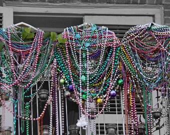 Beads on Balcony - 8x8 fine art photograph - Mardi Gras Collection