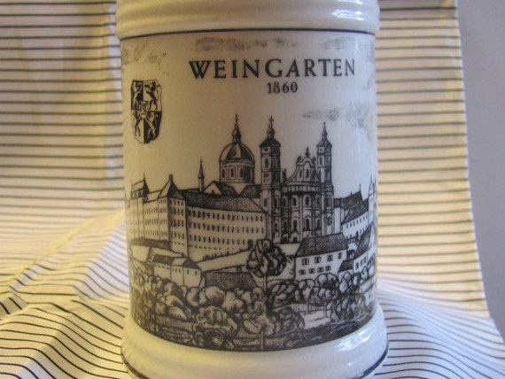 Weingarten 1860 Germany Made Black and White Beer Stein