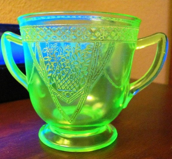 Vaseline Glass Sugar Bowl Lace Pattern  ((((CLEARANCE))))
