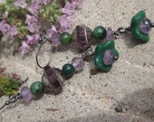 """Turquoise, Amethyst and Czech glass """" Polly's Petunias"""" earrings"""