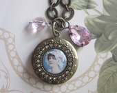 new homepage  Shabby Chic Pink Cameo Locket Necklacewith Rose quartz and rhinestones TAGTMCTT
