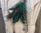 """SALE The """"Adrienne M"""" Peacock Gemstone Madness Necklace with Crystal, Czech glass, pearl and feathersTAGT"""