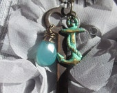 Availible now  Necklace of Nautical Verdigris Patina , Antique Key, Aquamarine and Pearl on brass ball chain.TAGT