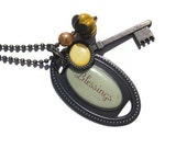 Unlock your blessings Brass and bead pendantTAGTMCTT