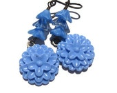 Crayola Cornflower Blue Resin and Czech glass Flower earrings on antiqued brass  TAGT