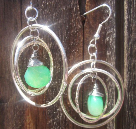 Granny Smith Chalcedony and silver hoop earrings