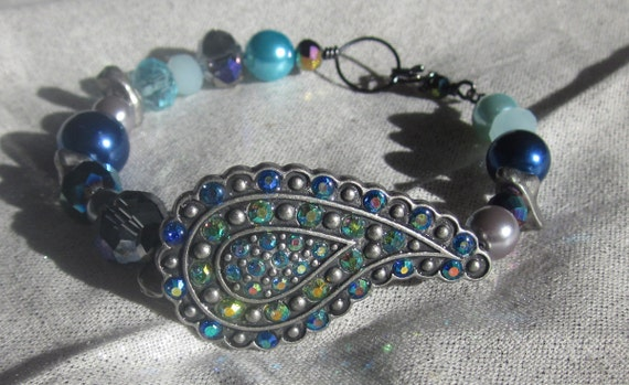 """SALE The """"Lisa V. """" peacock and Gemstone Bracelet with Pearls and Swarovski and Chinese Crystals on gunmetal silverTAGT"""