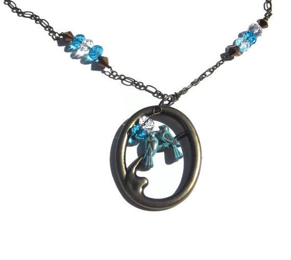 Love birds verdigris pendant with Czech glass and Swarovski crystals TAGTMCTT