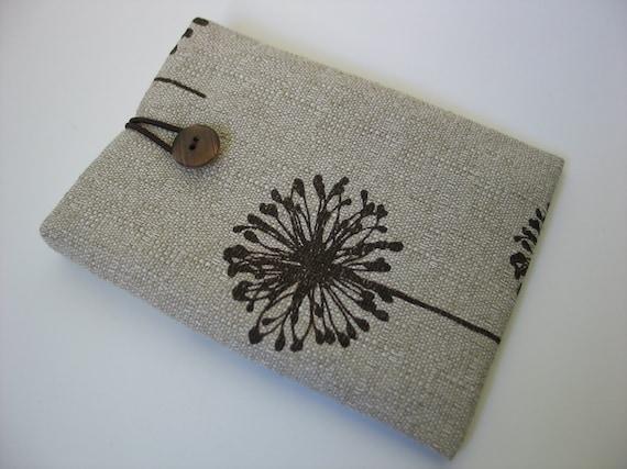 Kindle sleeve cover Kindle Paperwhite case Kindle Voyage cover dandelion dandelions fabric pattern print beige tan brown cotton canvas cloth