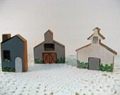 Primitive Decor Barn House Church Wooden Cutouts Handpainted