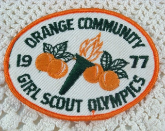 Vintage Girl Scout Olympics Patch 1977 Orange Community