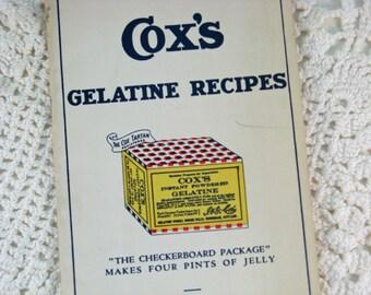 Vintage Recipe Booklet 1930 Cox's Gelatin Recipes