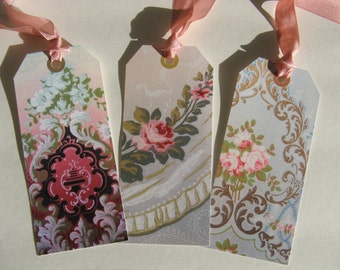 Shabby Chic Rose Wallpaper Hang Tags Victorian Set of 6