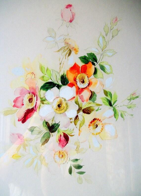 Vintage Original Art Floral Watercolor