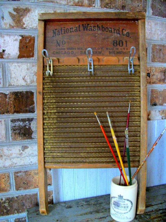 Vintage Washboard with Industrial Hooks