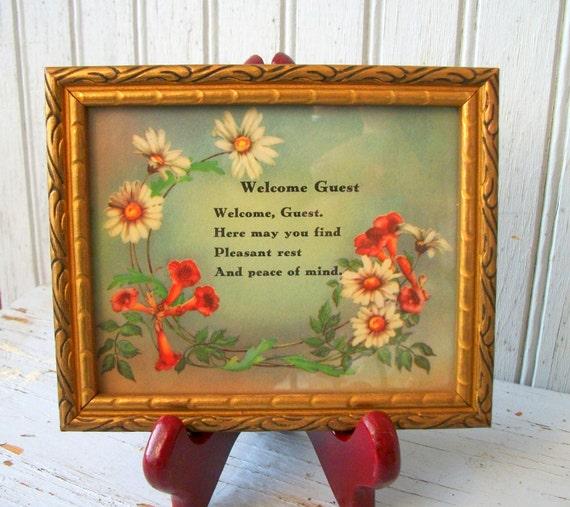 Vintage Welcome Guest Framed Poem