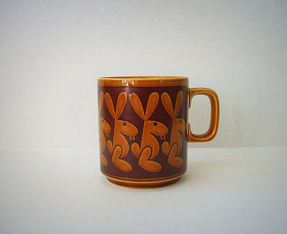 Vintage Hornsea Pottery Mug with Rabbits