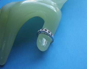 Vintage Silvertone Clear and Blue Rhinestone Size 8 Ring