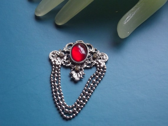 """Vintage 3"""" Silvertone Red Stone Clear Rhinestone Germany Pendant (no chain or necklace)"""