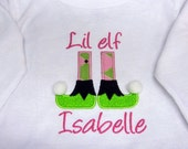 Girls Christmas T Shirt, Bodysuit, Or Bib Elf Boots Personalized  Applique