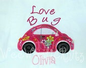 Girls Love Bug T Shirt Bib Personalized  Boutique Style Heart Applique Custom Monogrammed