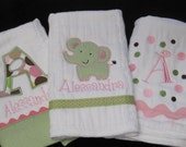 Girls Customized Gift Set-PERSONALIZED Elephant  Burp Cloths Newborn Baby Girl