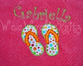 Personalized Beach Towel Girls Applique Bath Flip Flops Boutique Style You Design