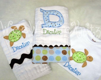 Sea Turtle Customized Gift Set-PERSONALIZED Burp Cloths and BODYSUIT Newborn Baby Boy Appliqued Baby Shower