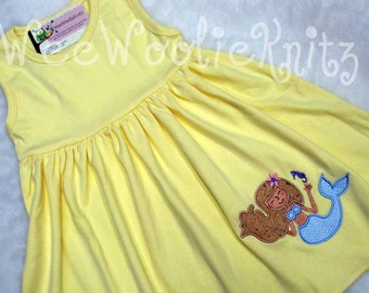 Mermaid Sun Dress Appliqued Personalized Twirl Summer Toddler Little Girl