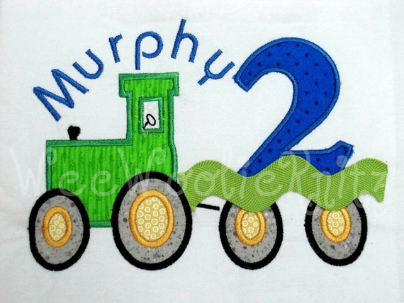 Tractor Birthday T shirt Boys Appliqued Personalized Farm 1st 2nd 3rd Any Number You Design
