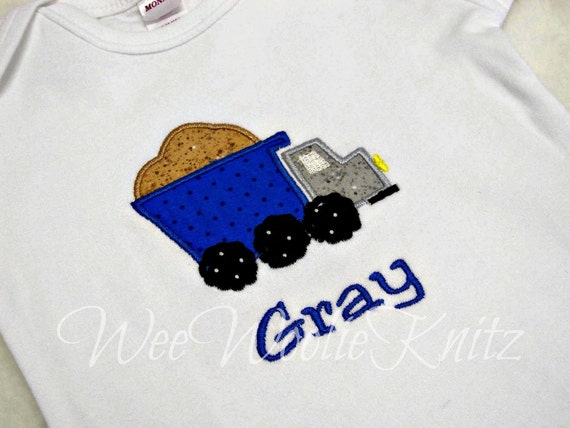 Boys Personalized Dumptruck T shirt Onesie Appliqued Truck Boutique Style Birthday