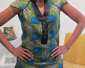 African Print Mini BabyDoll Dress