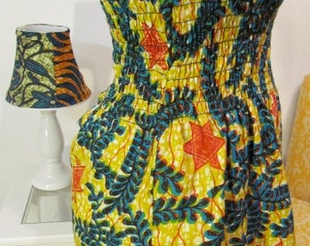 African Print Strapless Smocked Top
