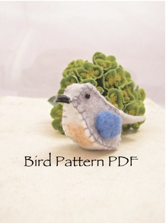 Felt Bird pin pattern PDF