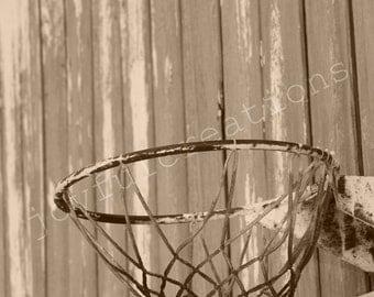 "Photography Print... Old Barn Basketball Hoop ""Basketball Dreams"""