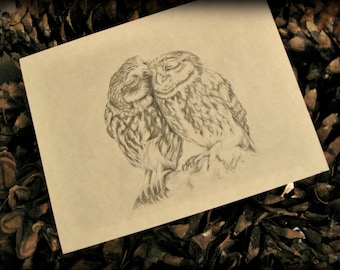 """Original Art Stationery... Two Owls Note Cards """"Love Birds"""""""