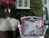 Items Similar To Vintage English Country Flowers Pillow