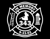 9/11 Firefighter 10 Year In Memory Vinyl Car Window Decal